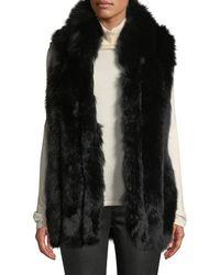 Belle Fare - Zip-front Fur Long Vest - Lyst