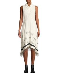 3.1 Phillip Lim - Twist-front Embellished Silk Sleeveless Dress With Chain Fringe - Lyst