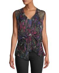 73427639132722 Lyst - Étoile Isabel Marant High-neck Tie-hem Plaid Wool-blend Top ...
