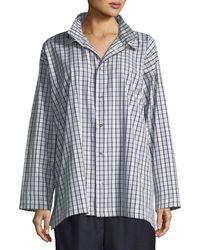 Eskandar - Slim A-line Two-collar Shirt With Stepped Insert - Lyst