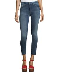 Mother - High-waist Looker Ankle Raw-edge Jeans - Lyst