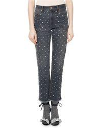 Isabel Marant | Ulano Crystal-studded Cropped Straight-leg Jeans | Lyst