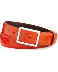 "W. Kleinberg - Glazed Alligator Belt With ""simple Rec"" Buckle - Lyst"