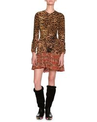 Etro - Leopard & Paisley Ruched Long-sleeve Minidress - Lyst