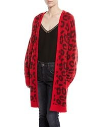 Tre by Natalie Ratabesi - Open-front Leopard-print Long Cashmere Cardigan - Lyst