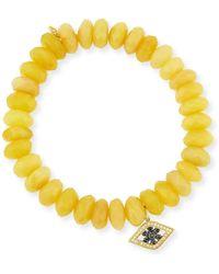 Sydney Evan - 10mm Yellow Opal Beaded Bracelet With Diamond & Sapphire Flower Eye Charm - Lyst