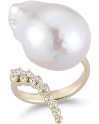 Mizuki - Curved Baroque Pearl & Diamond Ring In 14k Gold - Lyst
