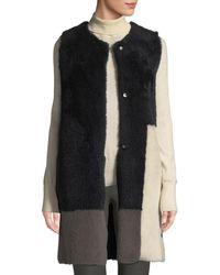 Karl Donoghue - Colorblock Lamb Shearling Long Vest - Lyst
