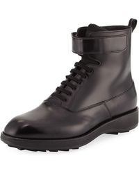 Prada | Leather Lace-up Combat Boot | Lyst