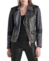 Hudson Jeans - Studded Leather Biker Jacket - Lyst