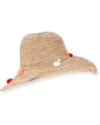 2180da75829 Tracy Watts - Rosario Crochet Raffia Sun Hat W  Pompoms - Lyst