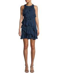 Cinq À Sept - Taghrid Sleeveless Ruffled Silk A-line Short Dress - Lyst