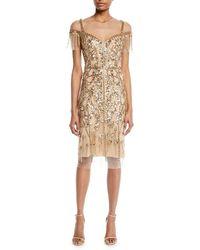 Pamella Roland - Round-neck Beaded-embellished Illusion Sheath Cocktail Dress - Lyst