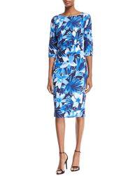 Michael Kors - Floral 3/4-sleeve Sheath Dress - Lyst