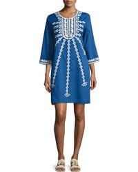 Figue | Sophie Embroidered Shift Dress | Lyst