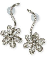 Oscar de la Renta - Crystal Delicate Flower Drop Earrings - Lyst