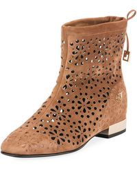 Roger Vivier - Floral-perforated Suede Flat Bootie - Lyst