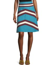 Valentino - A-line Crepe Couture Colorblock Skirt - Lyst