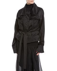 Urban Zen - Belted Relaxed Blouson Viscose-linen Jacket - Lyst