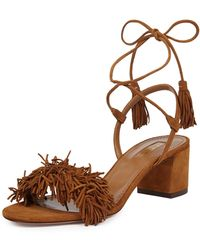 Aquazzura - Wild Thing Fringe City Sandal - Lyst