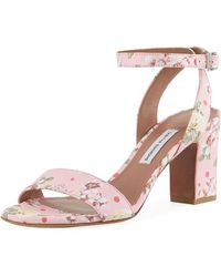 Tabitha Simmons - Leticia Floral Block-heel Sandal - Lyst