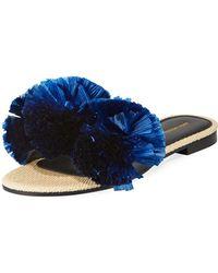 Avec Moderation - Bora Bora Raffia Pompom Slide Sandals - Lyst