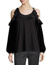 N°21 - Tosca Cold-shoulder Top W/ Ruffled Trim - Lyst