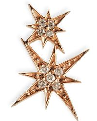 Sydney Evan - 14k Pave Diamond Double Starburst Stud Earring - Lyst