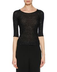 Giorgio Armani - 3/4-sleeve Mohair Knit Sweater Top With Sparkle - Lyst