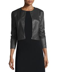 The Row - Cropped Leather Zip-front Jacket - Lyst