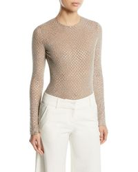 Michael Kors - Long-sleeve Embellished Stretch-tulle Bodysuit - Lyst