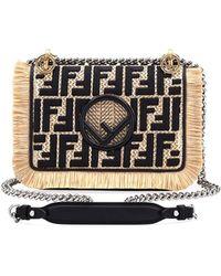 Fendi - Small Kan I Raffia Ff Shoulder Bag - Lyst