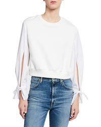 3.1 Phillip Lim - Cropped French Terry Pullover W/ Poplin Sleeves - Lyst
