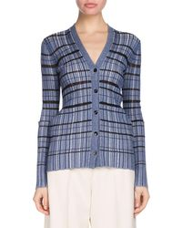 Proenza Schouler - V-neck Button-front Striped Ribbed Cardigan - Lyst