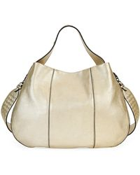 b96fbd32d5ae Bottega Veneta - City Veneta Large Metallic Leather Hobo Bag - Lyst