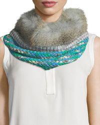 Missoni - Knit Neck Warmer W/ Fur Trim - Lyst