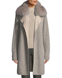 Sofia Cashmere - Cashmere Double-face Coat W/ Fur Collar - Lyst