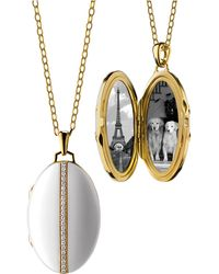 Monica Rich Kosann - Oval White Ceramic Locket - Lyst