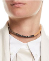 Brunello Cucinelli - Monili And Leather Wrap Necklace - Lyst