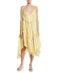 Zimmermann - Lumino Floating Stripe Linen Coverup Dress - Lyst