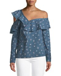 PAIGE - Marlow One-shoulder Floral-print Chambray Top - Lyst