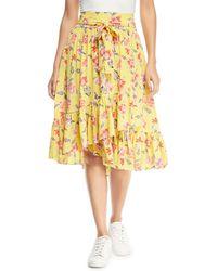 Joie - Denisha Floral-print Silk Flounce Skirt - Lyst