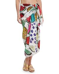 Anna Coroneo - Cotton Voile Fruit Scarf - Lyst