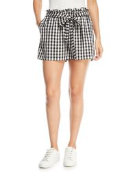 Joie - Cleantha Check Cotton Tie-waist Shorts - Lyst