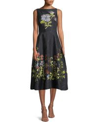 Lela Rose - Sleeveless Boat-neck Floral-embroidered Jacquard Dress - Lyst