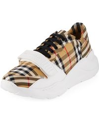 3ed99dc19127 Burberry - Men s Chunky Signature Check Trainer Sneakers With Grip Strap -  Lyst