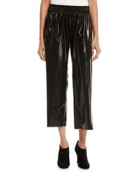 Norma Kamali - Cropped Boyfriend Metallic Sweatpants - Lyst