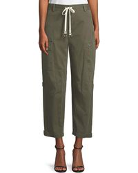 T By Alexander Wang - Garment Washed Twill Wide-leg Cargo Ankle Pants - Lyst