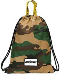 Off-White c/o Virgil Abloh - Men's Camouflage Nylon Sack Backpack - Lyst
