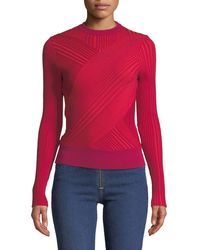Cedric Charlier - Crewneck Asymmetric-striped Wool Sweater - Lyst